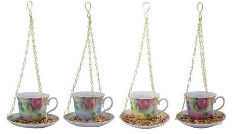 Hanging Teacup Feeder - Yellow - Roses And Teacups
