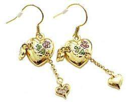 Heart Charm Earrings with Crystals **Only One Left** - Roses And Teacups