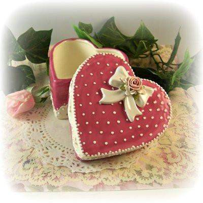 Heart Trinket Box Rosette Bow - Roses And Teacups