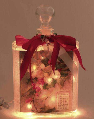 Holiday Perfume Bottle Nightlight ( Night Light ) - Roses And Teacups