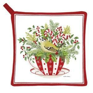 Holiday Tea Cup Potholder - Roses And Teacups