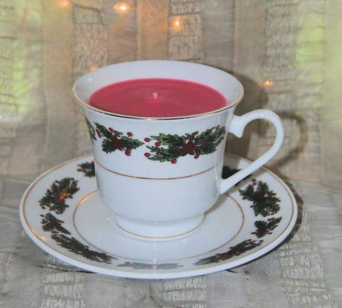 Holly Tea Cup Candle with Saucer (Gift Wrapped!) - Roses And Teacups