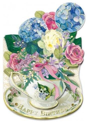 Hydrangea Teacup Happy Birthday Greeting Card - Roses And Teacups