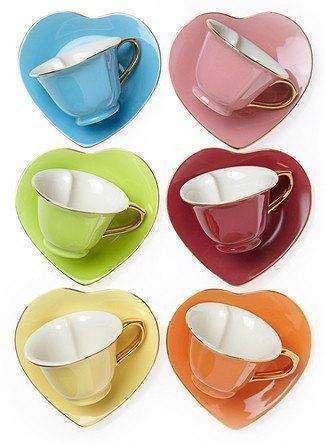 Inside Out Heart Teacups and Saucers Set of 6 Perfect for Valentine's Day - Roses And Teacups
