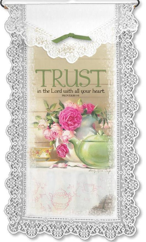 Inspirational Lace Wall Hanging Trust in the Lord - Roses And Teacups