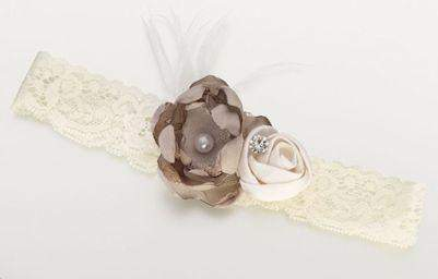 Ivory Taupe Rose Vintage Lace Garter - Roses And Teacups
