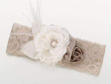 Ivory Taupe Rose Wide Vintage Lace Garter - Roses And Teacups