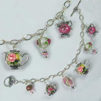 Japanese Tensha Bead Teapot Charm Bracelet - Roses And Teacups