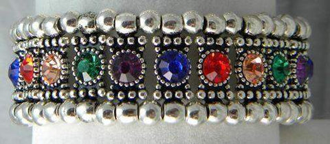Jewel Tones Crystal Stretch Bracelet - Roses And Teacups