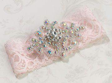 Jeweled Pink Garter - Roses And Teacups