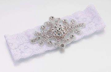 Jeweled White Garter - Roses And Teacups