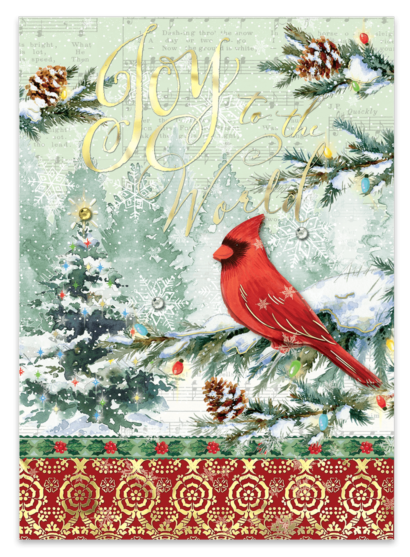Joyous Red Cardinal Boxed Christmas Holiday Greeting Cards - Roses And Teacups