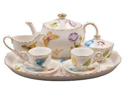 Karly's Butterflies Girl's Tea Set - Free Tea Included!-Roses And Teacups