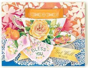 Kimberly Shaw Get Well Blessings Teacup Card - Roses And Teacups