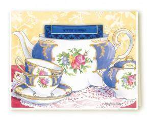Kimberly Shaw Getting Together Tea Card-Roses And Teacups