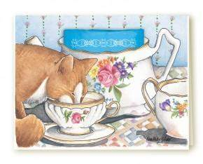 Kimberly Shaw Kitty Blank Tea Card - Roses And Teacups