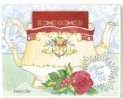 Kimberly Shaw Teapot Tea Party Invitation Cards - Roses And Teacups