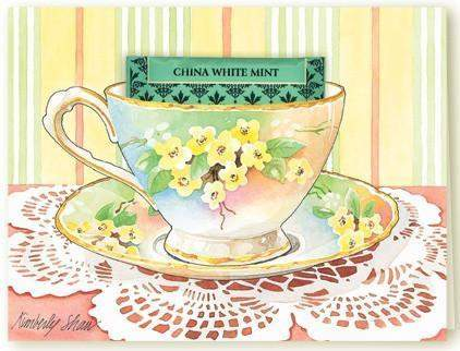 Kimberly Shaw Vintage Floral Tea Card - Roses And Teacups