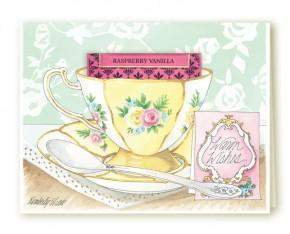 Kimberly Shaw Warm Wishes Tea Card - Roses And Teacups