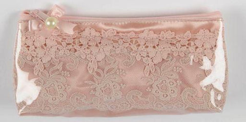 Lace Clear Plastic Cosmetic Bag - Roses And Teacups