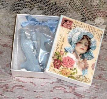 Lady in Blue Victorian Shoe Soap Favors in Gift Box - Roses And Teacups