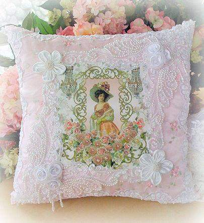 Lady with Chandeliers  Crystal Roses Victorian Pillow - Roses And Teacups