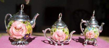 "Large Silver with Pink Rose on ""Pearl"" Teapot Charm - Roses And Teacups"