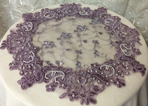 Lavender Beaded Lace Doily - Roses And Teacups