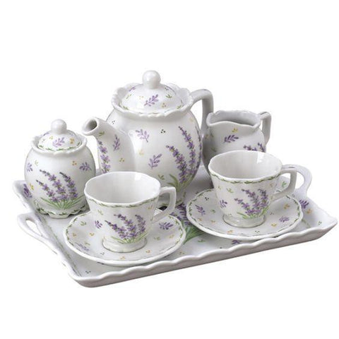 Lavender Porcelain Tea Set From Andrea by Sadek  With Tray Teacups and Teapot - Only 2 Available! - Roses And Teacups
