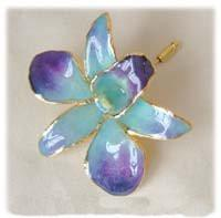 Lilac/Blue Orchid Pin with 24k Gold - Roses And Teacups