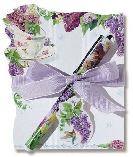 Lilacs Die Cut Notepad with Designer Pen - Roses And Teacups