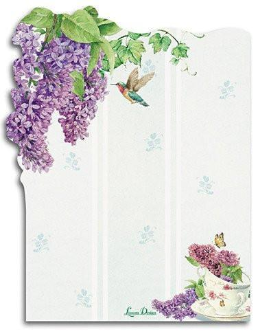 Lilacs Die Cut Sticky Notes Pad - Roses And Teacups