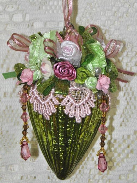 LIMITED EDITION Edith Hand Decorated Victorian Glass Ornament - Roses And Teacups