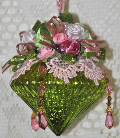 LIMITED EDITION Mary Hand Decorated Victorian Glass Ornament - Roses And Teacups