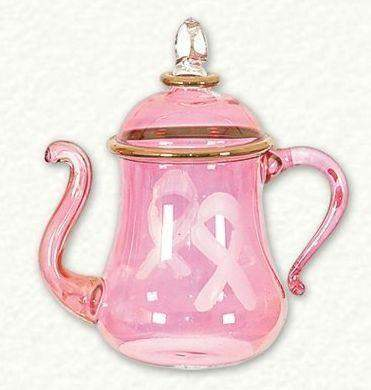 LIMITED EDITION Pink Ribbon Breast Cancer Awareness Teapot / Coffee Pot Egyptian Glass Ornament - Roses And Teacups