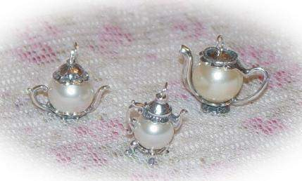 Medium Faux Pearl Sterling Silver Teapot Charm - Roses And Teacups