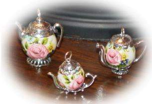 Medium Sterling Silver Pink Rose Bead Teapot Charm - Roses And Teacups