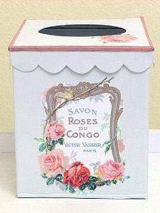 "Mixed Roses French Vintage Look Tissue Holder 7""x6""x6"" - Roses And Teacups"