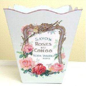 "Mixed Roses French Vintage Look Wastebasket 12""x10""x10"" - Roses And Teacups"