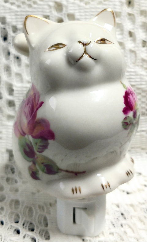 Ms Kitty Rose Porcelain Nightlight - Roses And Teacups