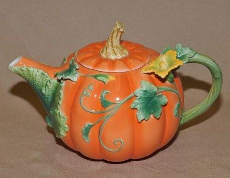 New Painted Fall Pumpkin Teapot - Roses And Teacups