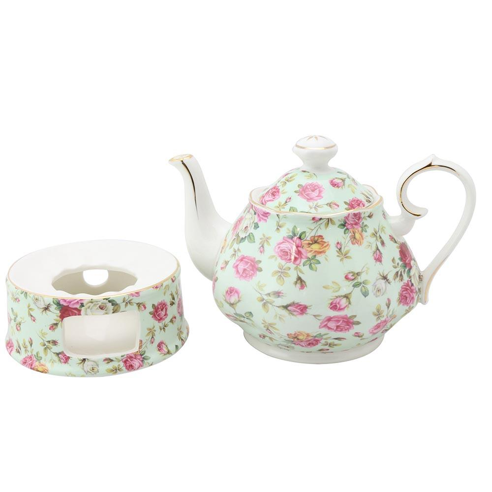 Oh So Shabby Roses Chintz Porcelain Teapot and Warmer Set - Roses And Teacups