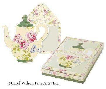 Original Carol Wilson Yellow Glittered Teapot Boxed Note Cards with Beautiful Envelopes - Only 1 Available! - Roses And Teacups