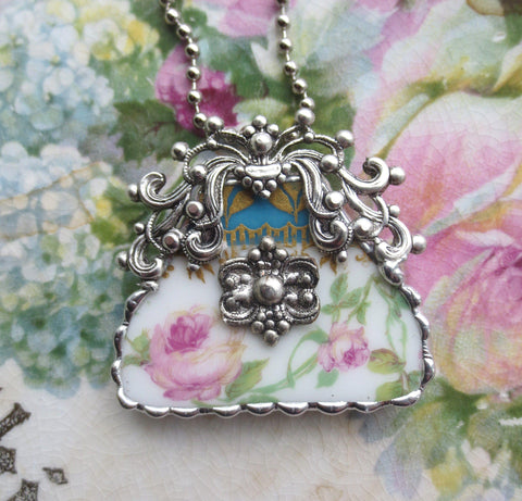Ornate Vintage Broken China Purse Pendant with Necklace - Only 1 Available! - Roses And Teacups