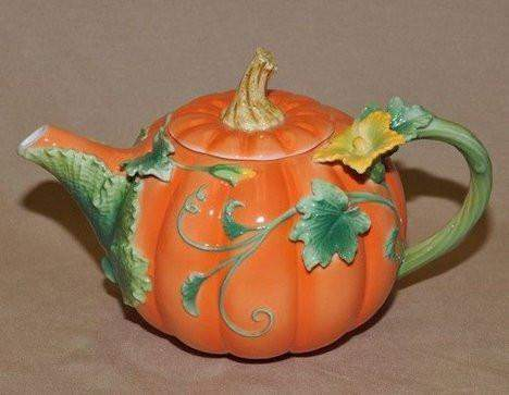 Painted Fall Pumpkin Teapot - FREE Pumpkin Spice Tea Included! - Roses And Teacups