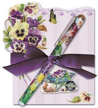 Pansy Die Cut Notepad and Pen - Very Limited! - Roses And Teacups