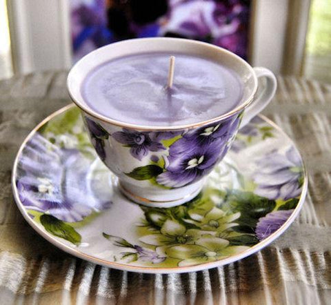 Pansy Joy Tea Cup Candle - Roses And Teacups