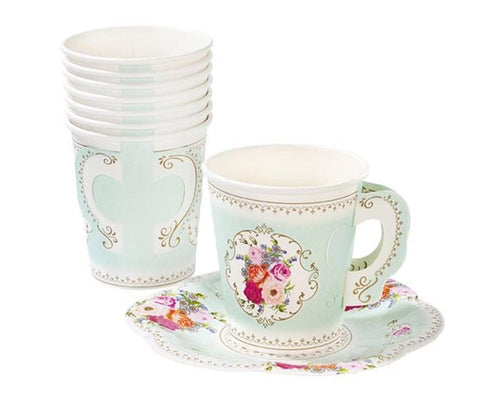 Paper Tea Cups and Saucers in Vintage Floral Design - Roses And Teacups