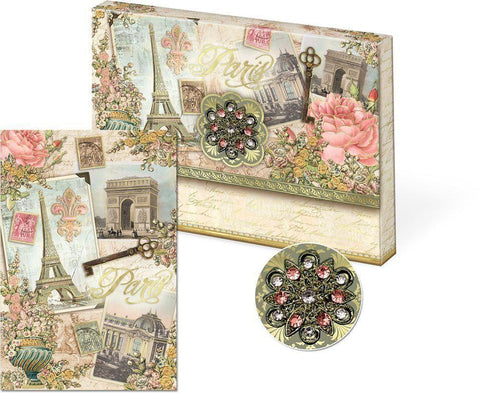 Paris Brooch Portfolio Note Cards - Roses And Teacups