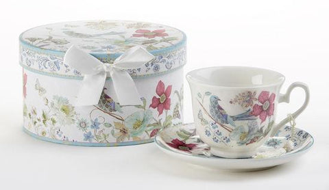 Partridge Gift Boxed Porcelain Teacup and Saucer - Roses And Teacups